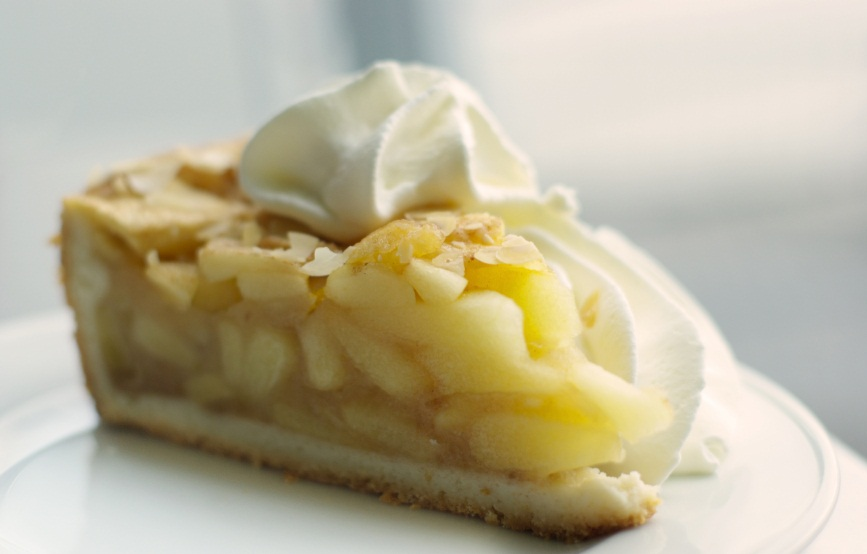 apple pie slice with whipped cream